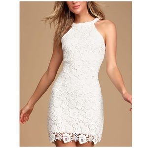 Lulus White Love Poem Short Lace Halter Dress